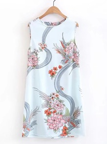 Floral Print Cut Out Back Dress