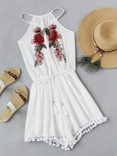 Rose Applique Drawstring Tassel Hem Cross Back Romper