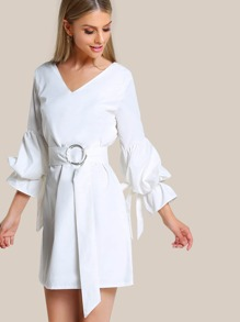O Ring Belt Ruffle Sleeve Dress WHITE