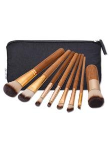 Brosse de maquillage avec poignée en bambou 8 pièces &Sac