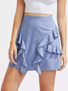 Frill Trim Chambray Skirt