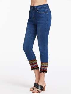 Contrast Tribal Embroidery Pom Pom Trim Jeans
