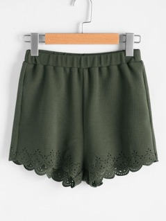Elastic Waist Textured Laser Cut Scallop Shorts