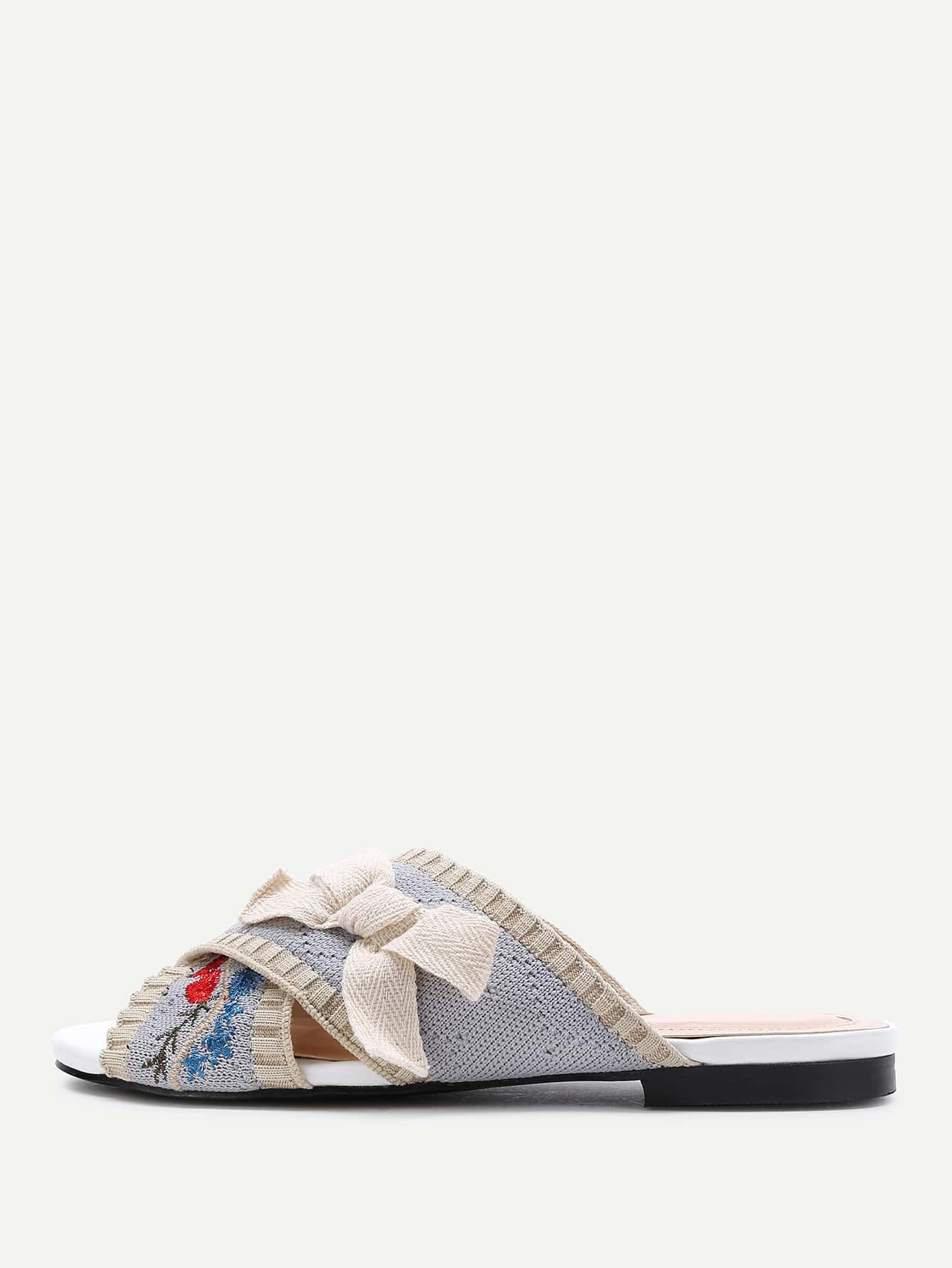 Фото Flower Embroidery Flat Sandals With Bow. Купить с доставкой