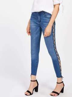 Grommet Lace Up Side Jeans