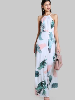 Foliage Print Racer Halter Neck Open Back Maxi Dress