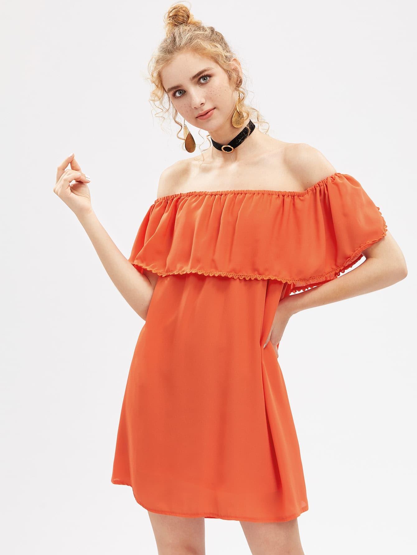 Фото Off-the-Shoulder Shift Dress. Купить с доставкой