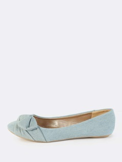 Denim Knot Bow Flats LIGHT BLUE