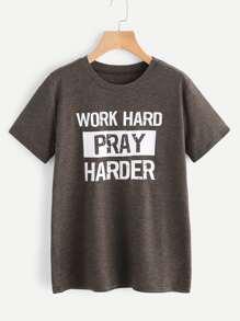 Slogan Print Slub T-shirt