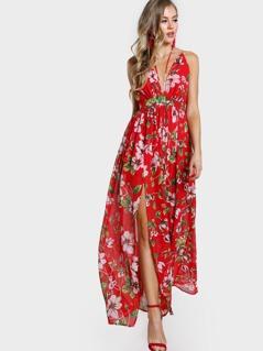 Plunging Crisscross Back Calico Print Dress