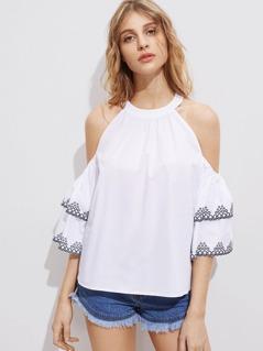 Embroidered Layered Sleeve Cold Shoulder Halter Top