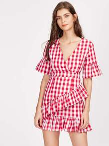 Frill Trim Surplice Wrap Gingham Dress