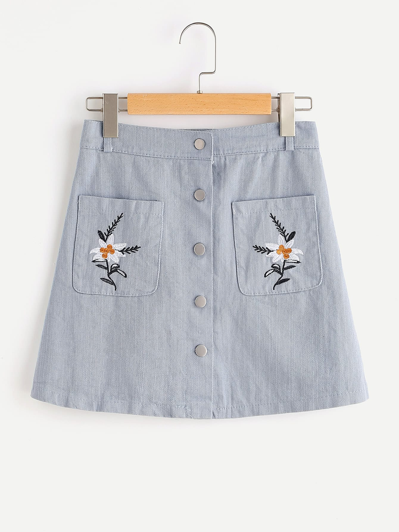 Flower Embroidered Single Breasted Skirt