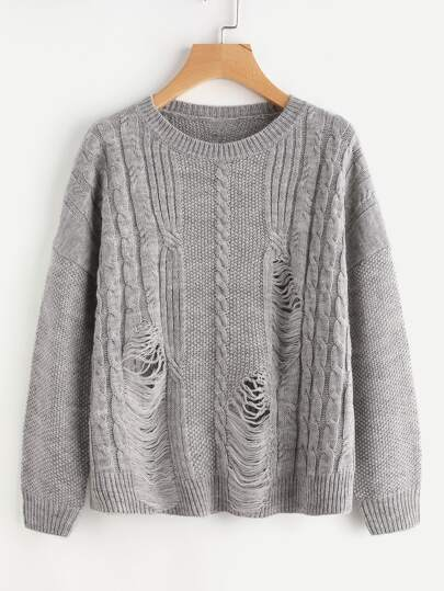 Mixed Knit Ladder Jumper