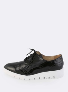 Shiny Lace Up Oxfords BLACK