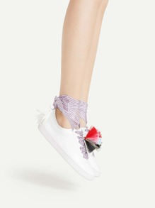 Tassel Embellished PU Sneakers With Gingham Strap