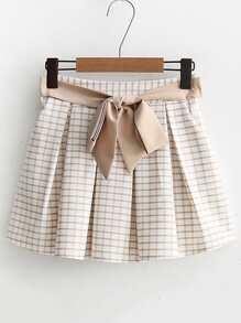 Falda-pantalón de cuadros con cordón