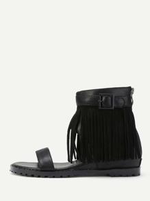 Fringe Design Block Heeled Sandals With Zipper