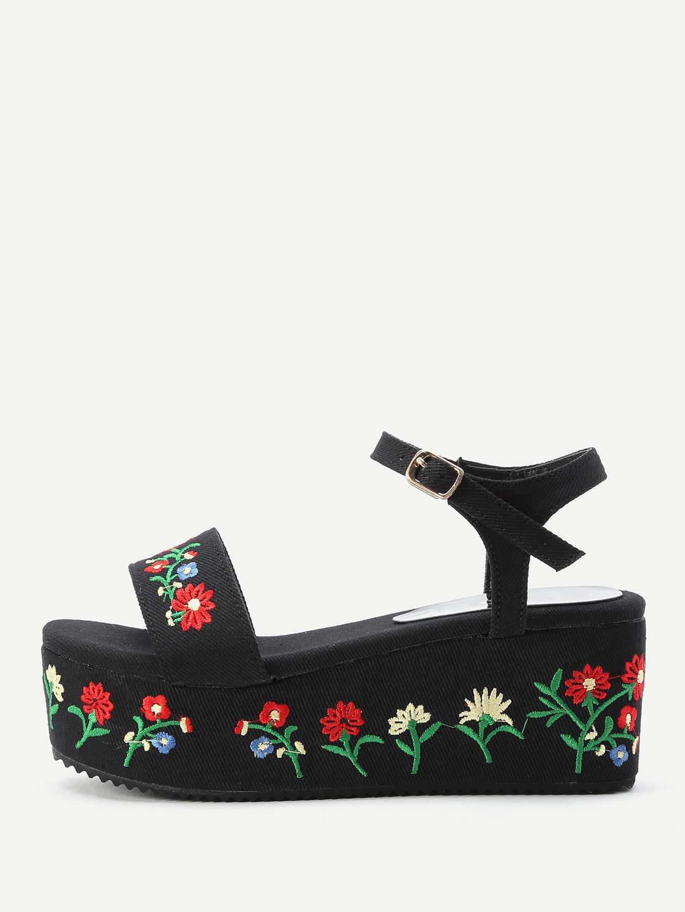 Flower Embroidery Denim Wedge Sandals
