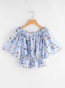 Calico Print Kimono Sleeve Top With Shirring