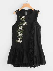 Frill Trim Eyelet Embroidered Dress