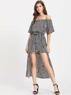 Flutter Sleeve Self Tie Mixed Striped Maxi Romper