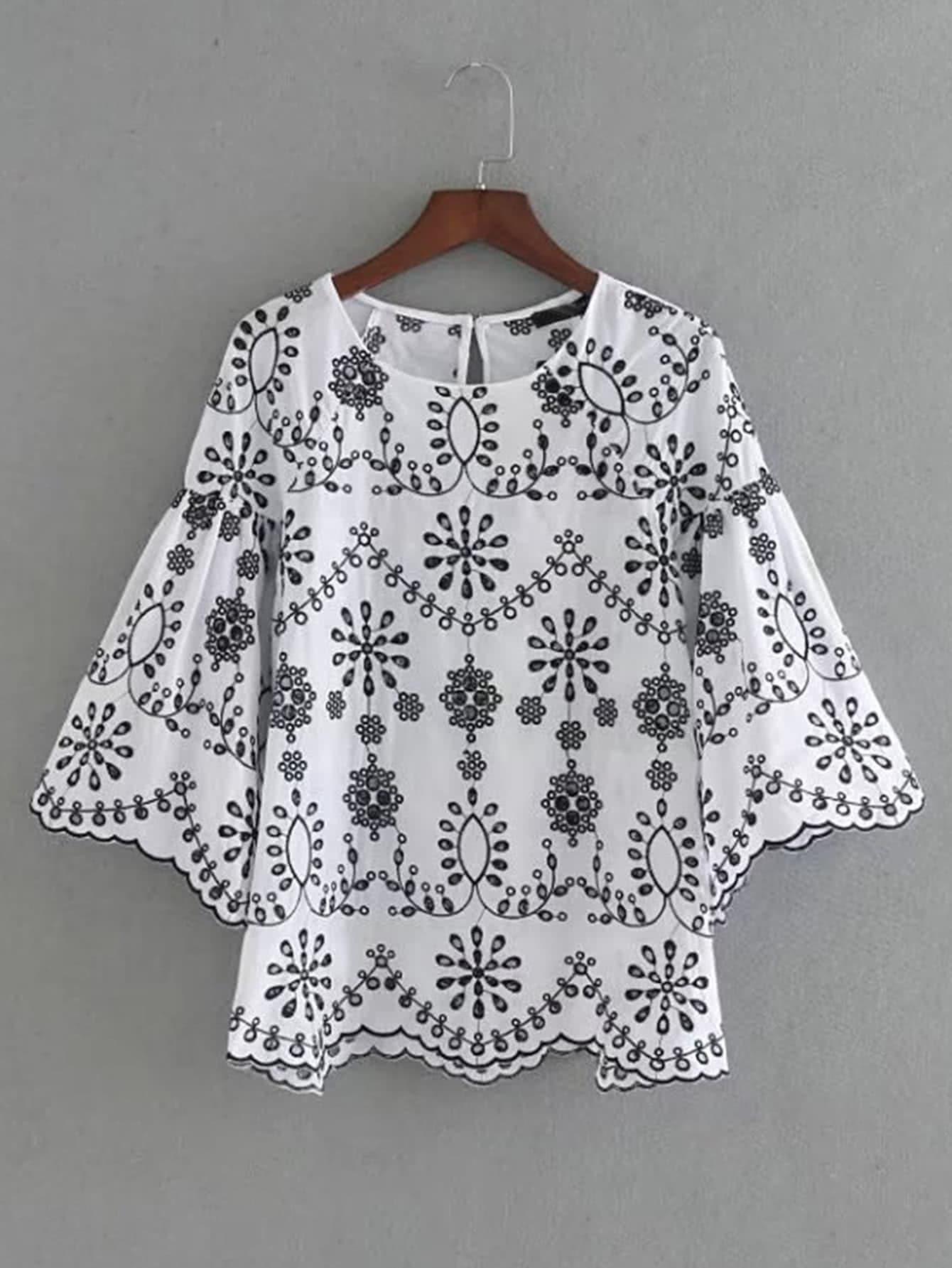 Фото Bell Sleeve Wave Hem Embroidery Top. Купить с доставкой