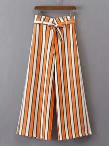 Bow Tie Waist Vertical Striped Wide Leg Pants