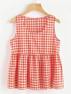 Tiered Gingham Shell Top
