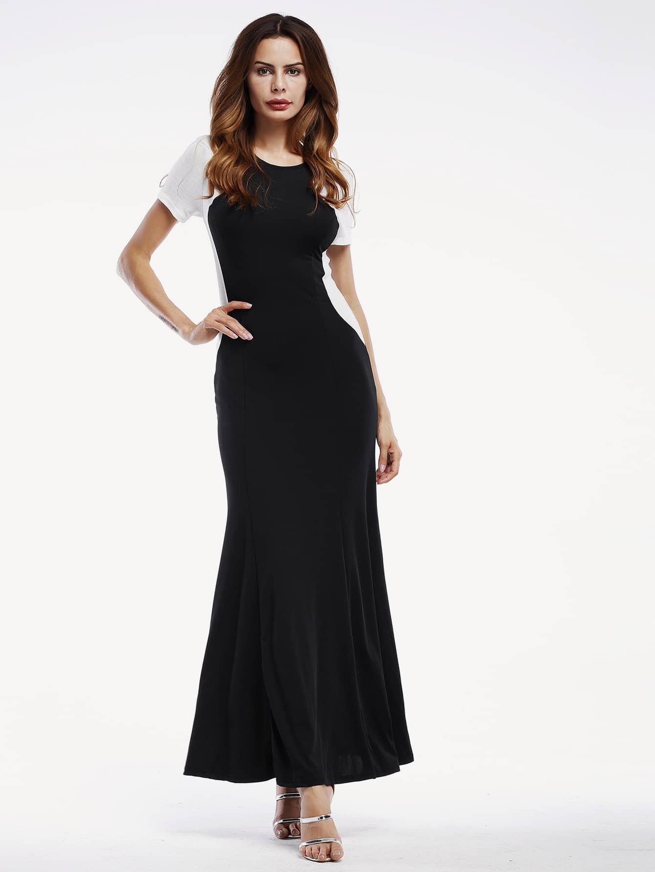 Фото Color Block Maxi Long Dress. Купить с доставкой