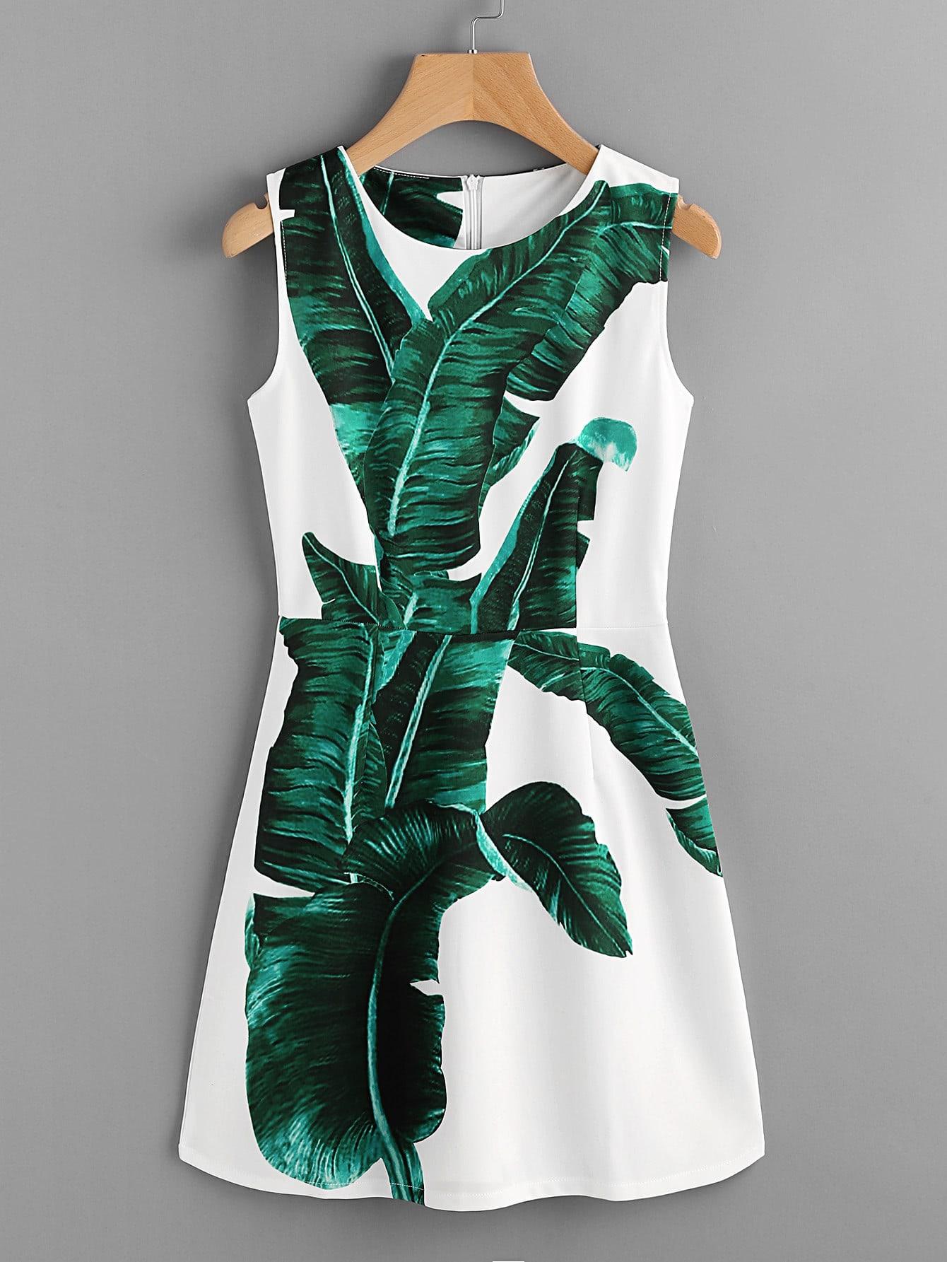 Фото Banana Leaves Print A Line Dress. Купить с доставкой