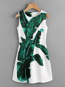 Banana Leaves Print A Line Dress