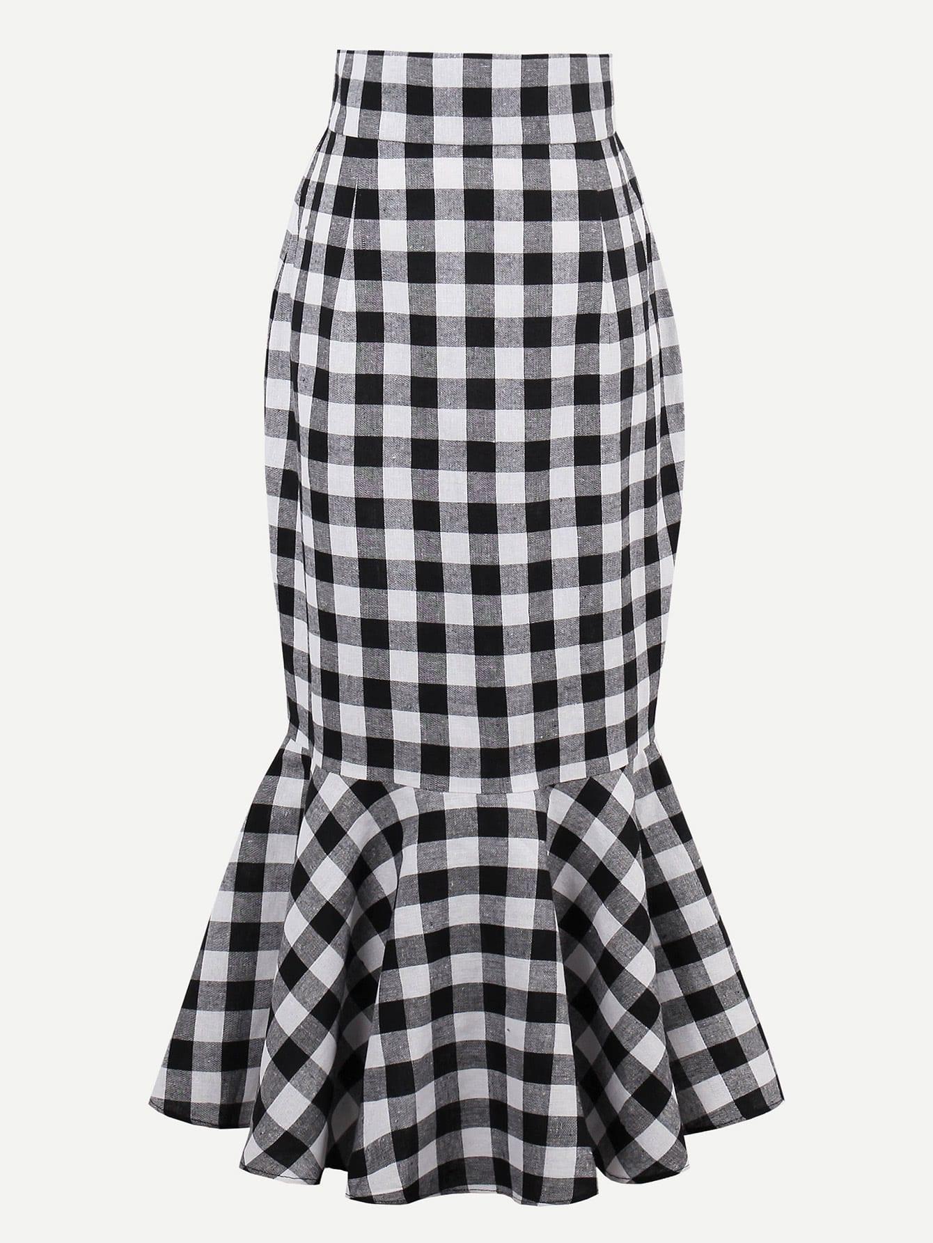 Checkered Fishtail Hem Skirt