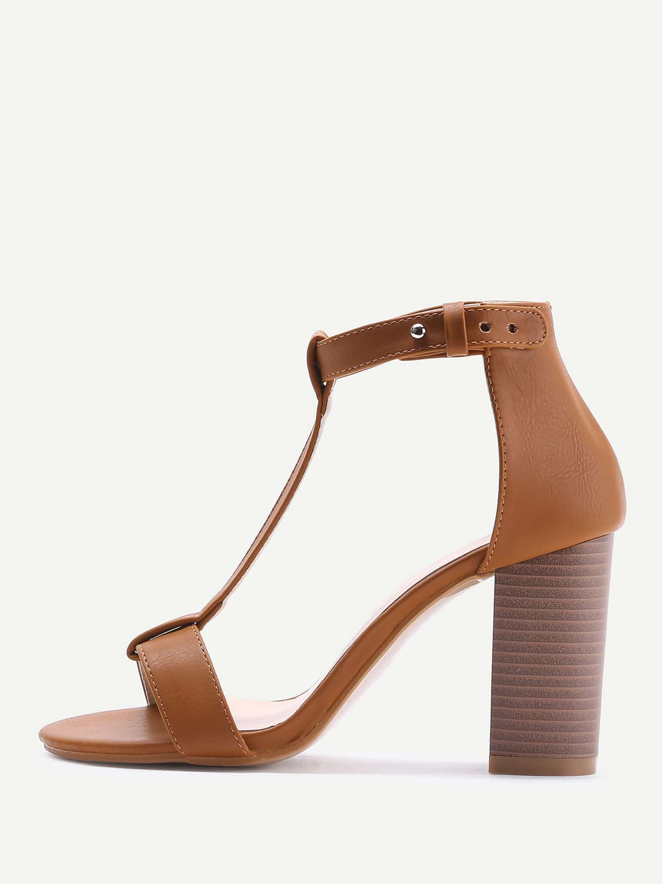 T-strap PU Block Heeled Sandals ankle strap block heeled pu sandals