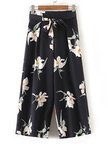 Pantalons jambe large avec nœud papillon