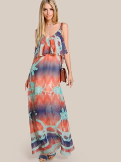 Multi Print Spaghetti Strap Maxi Dress ORANGE MULTI