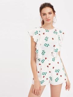 Ladybug Print Flutter Sleeve Tailored Romper