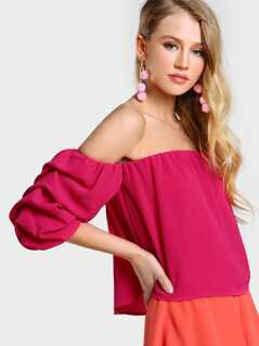 Ruched Sleeve Off Shoulder Top