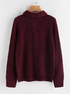 Turtle Neck Chunky Knit Dip Hem Jumper