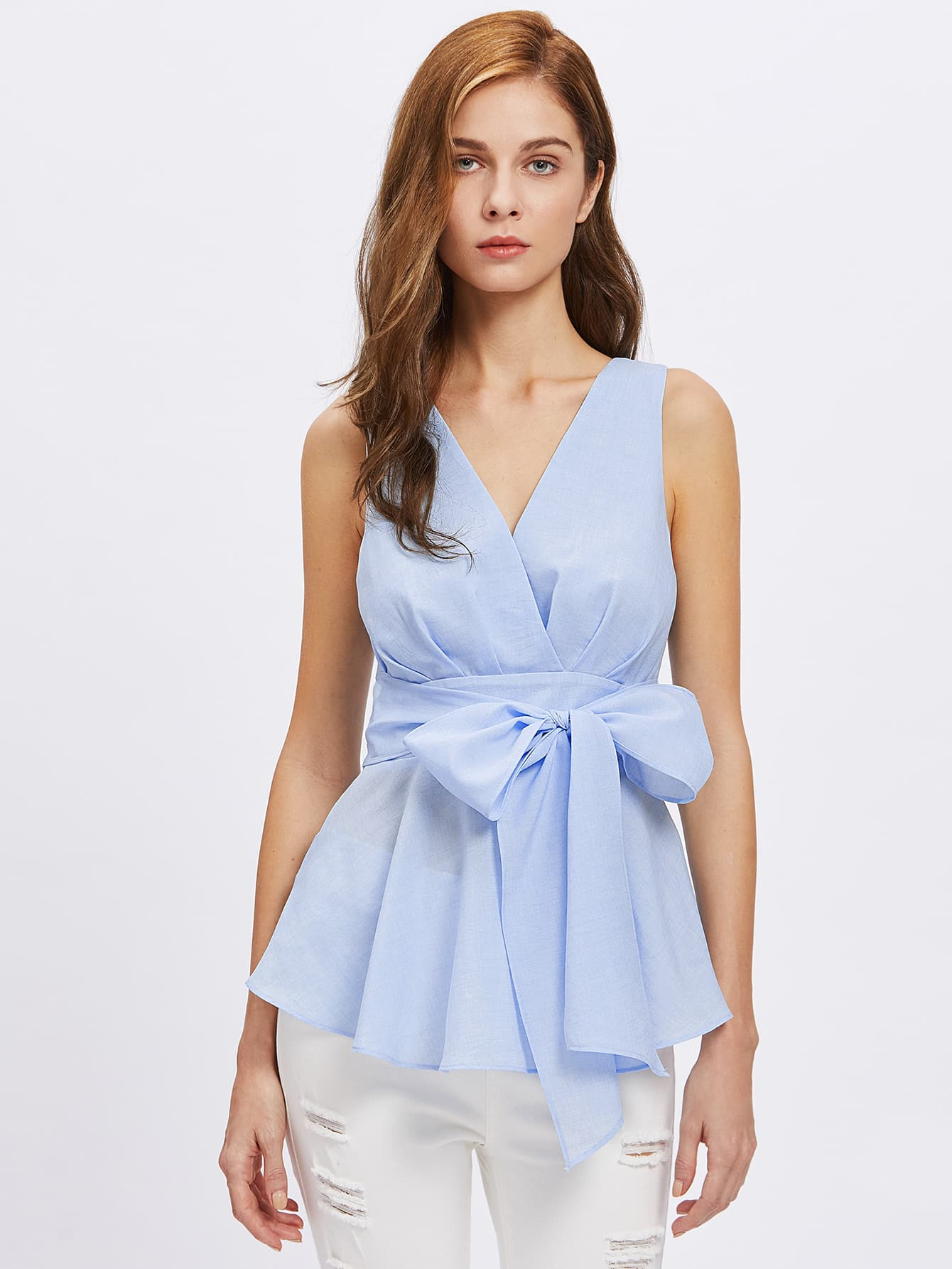 Фото Cutout Back Bow Front Surplice Wrap Top. Купить с доставкой