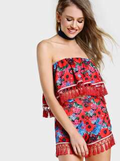 Floral Print Strapless Tassel Crop & Short Set MULTI