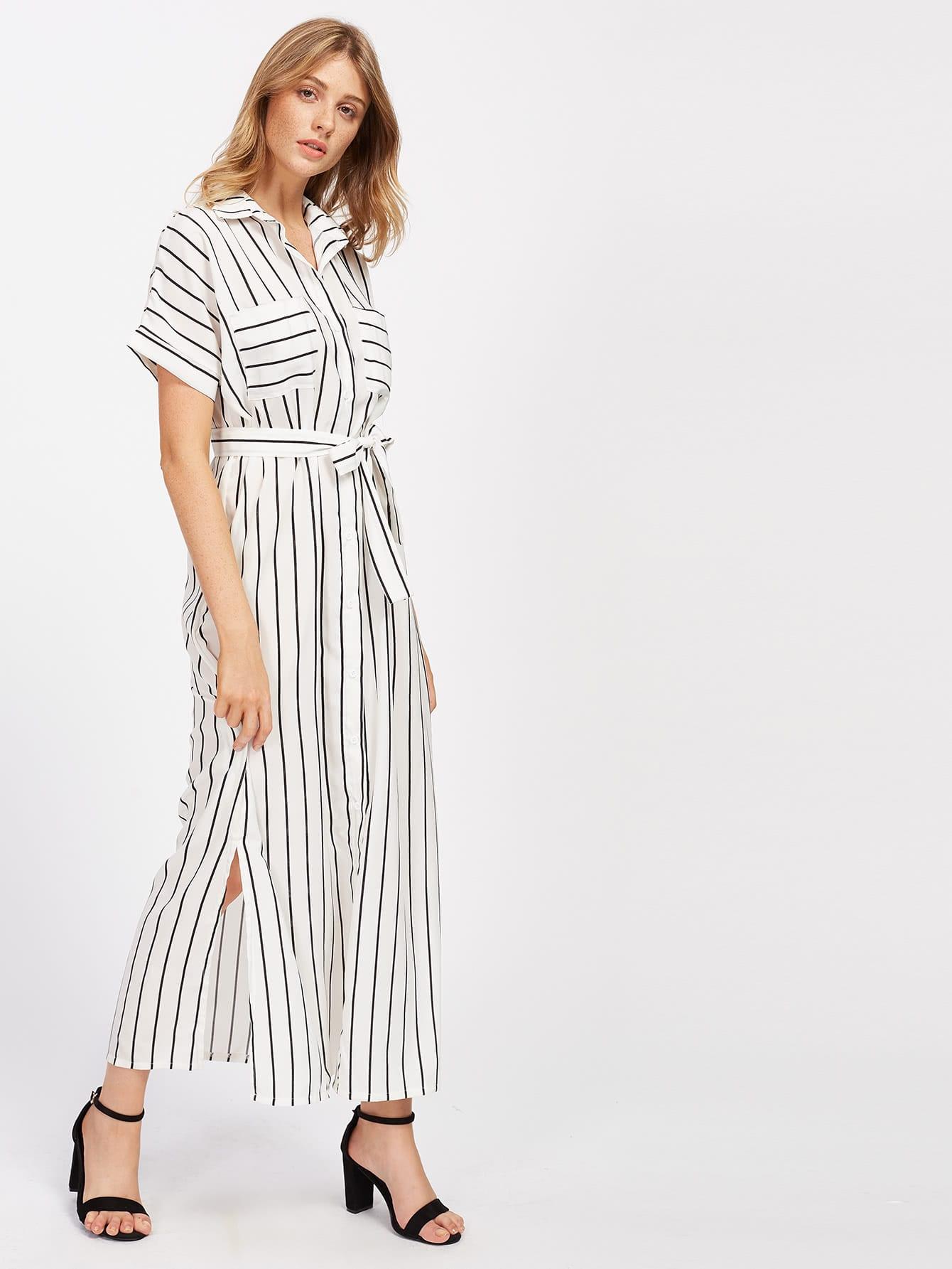 Фото Vertical Striped Slit Side Self Tie Shirt Dress. Купить с доставкой