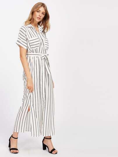 Vertical Striped Slit Side Self Tie Shirt Dress