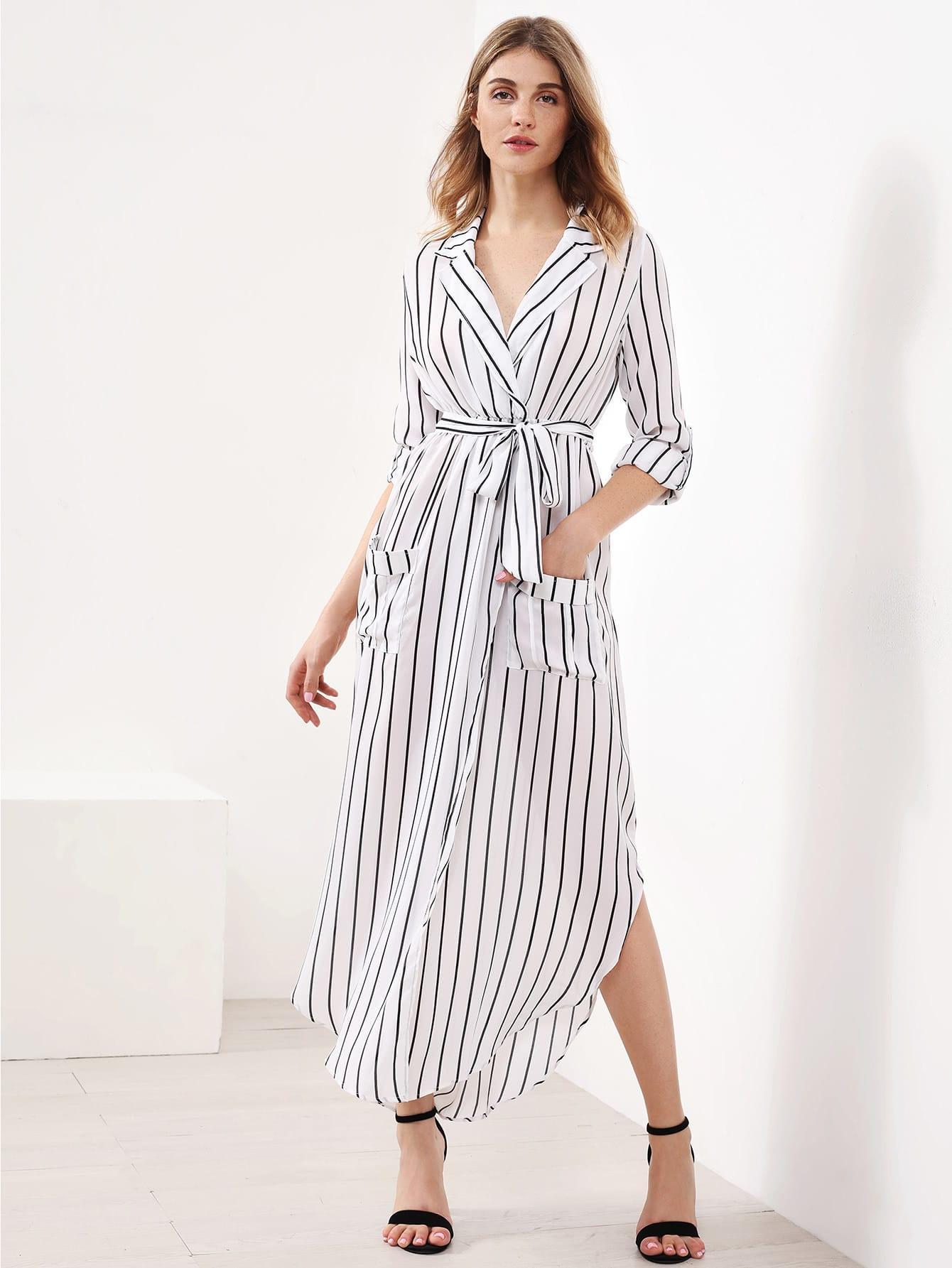 Vertical Striped Slit Side Curved Hem Shirt Dress dress170613112