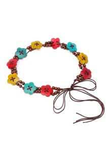 Flower & Beaded Self Tie Belt