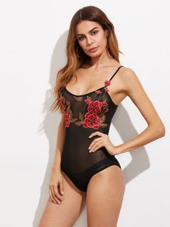 Embroidered Flower Patch Mesh Cami Bodysuit