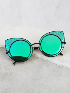 Circular Cat Eye Reflective Sunnies TEAL