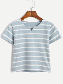 Camiseta de rayas crop - azul