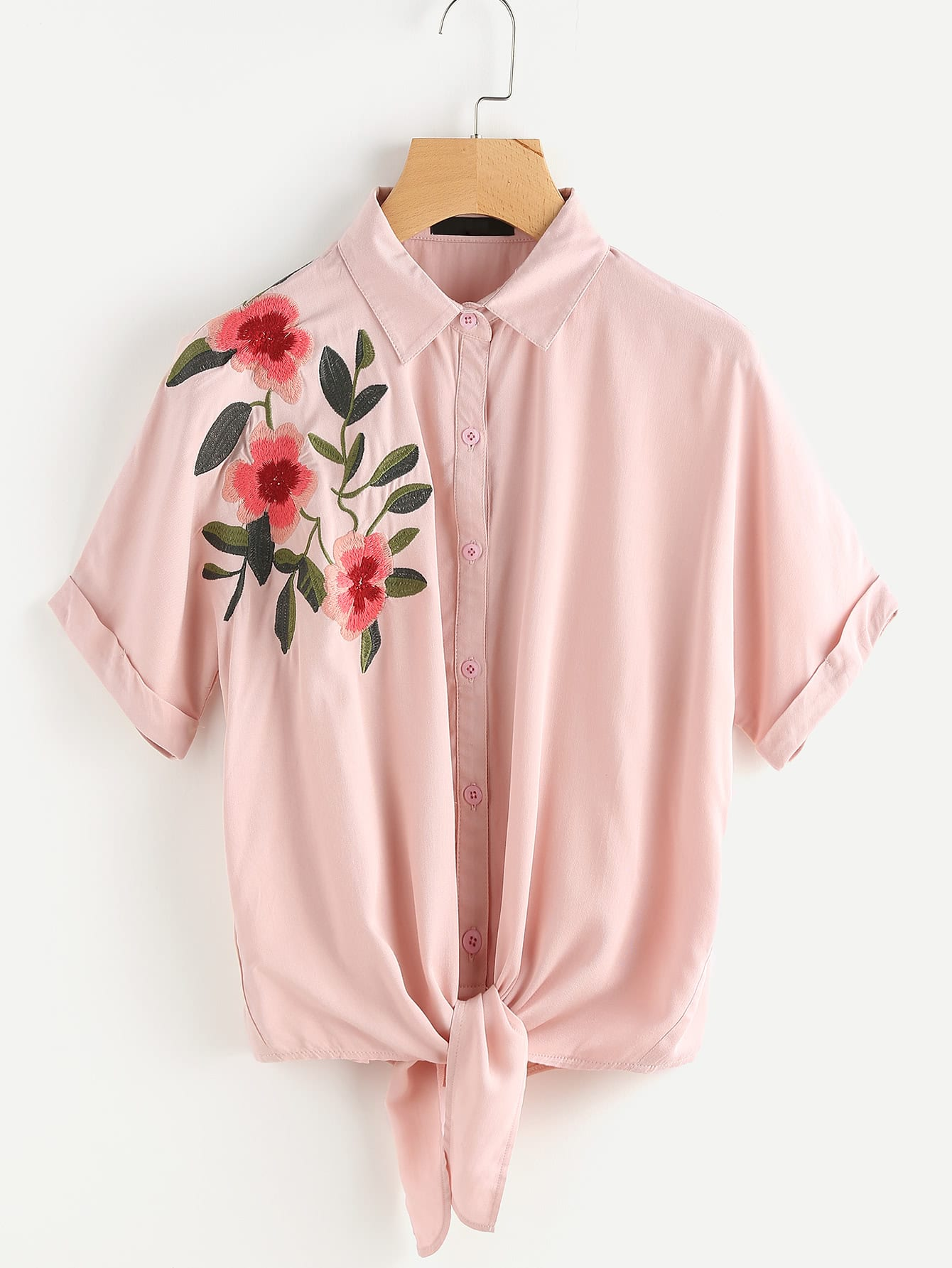 Tie Front Cuffed Sleeve Embroidered Blouse thumbnail