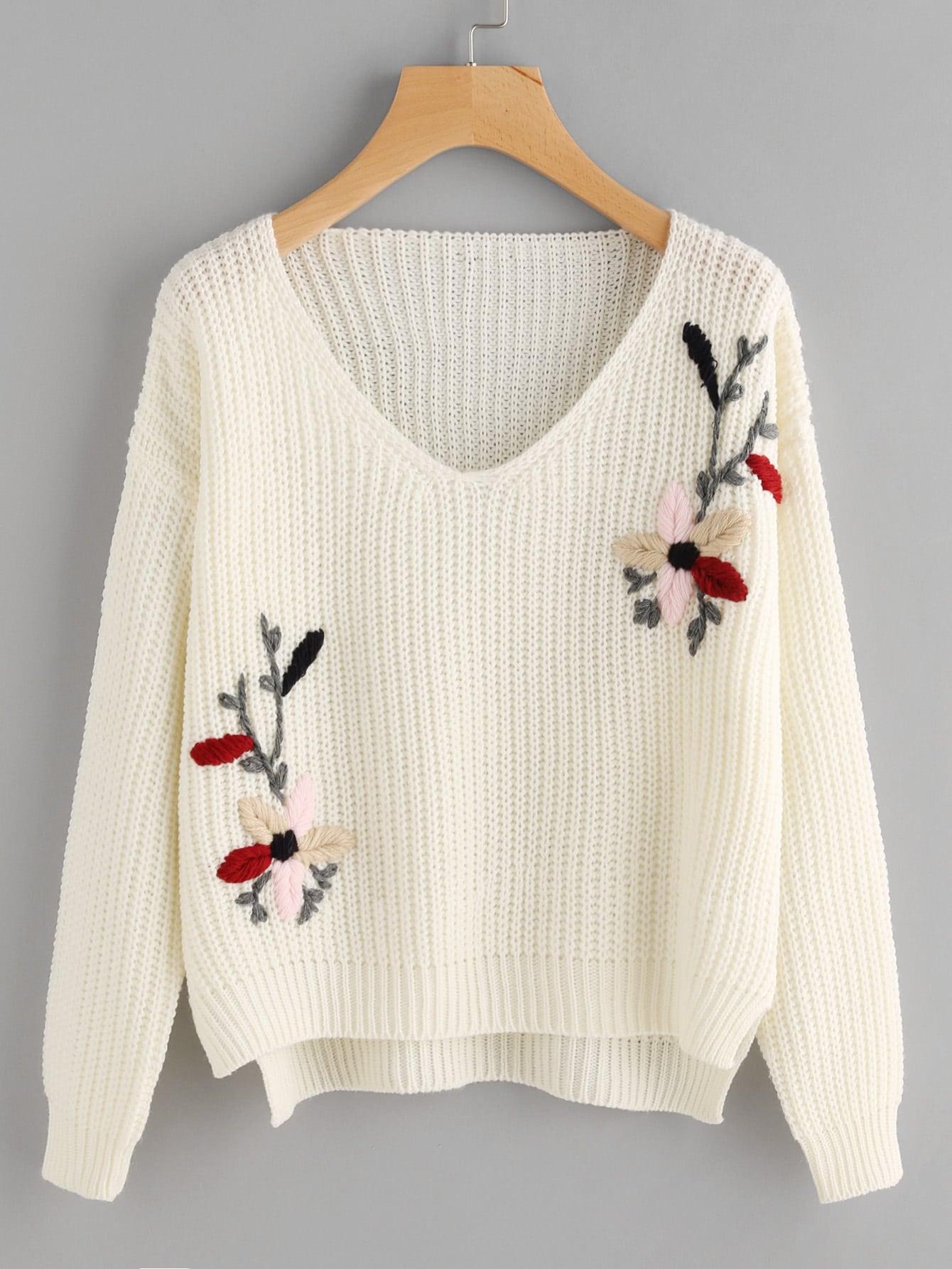 Flower Embroidered Dip Hem Jumper girls spot embroidered sleeveless jumper